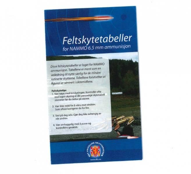 FELTSKYTINGSTABELL FOR KAL. 6,5